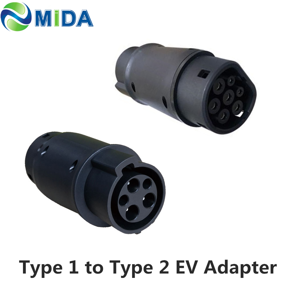 DUOSIDA EVSE Adaptor 32Amp SAE <font><b>J1772</b></font> Connector EV Charger Type 1 to Type 2 EV Adapter Electric Vehicles Car Charging <font><b>J1772</b></font> Plug image