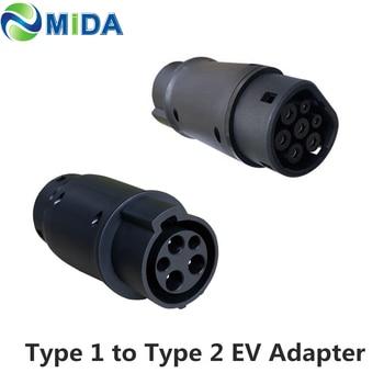 DUOSIDA EVSE adaptador 32Amp SAE J1772 conector EV cargador tipo 1 a Tipo 2 EV adaptador vehículos eléctricos Carga de coche J1772 enchufe