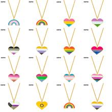 Transgender Rainbow Pansexual pride Genderqueer pride aseksualny naszyjnik tęczowe serce naszyjnik dla kobiet biżuteria tanie tanio AKOLION Miedzi Unisex Wisiorek naszyjniki Klasyczny Link łańcucha Kryształ cross Moda AN296 Fashion Pendants piece Trendy