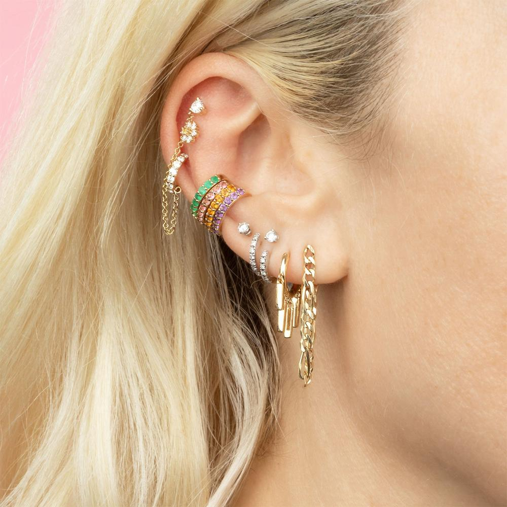 ANDYWEN 925 Sterling Silver Multi Ear Cuff No Piercing Clips Earcuff Cuffs Earring 2020 Rainbow Crystal CZ Rock Punk Ear Jewelry