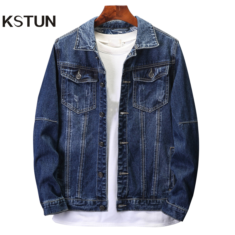 KSTUN Denim Jackets Men Coat Dark Blue Casual Teens Denim Jacket Loose Fit Turn-down Collar Denim Bomber Jackets Long Sleeves