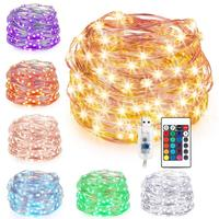 Colorful Synchronous Copper Wire Led String Light Usb Power Supply Multi color String Light 24 Key Wireless Remote Control Lighting Strings     -