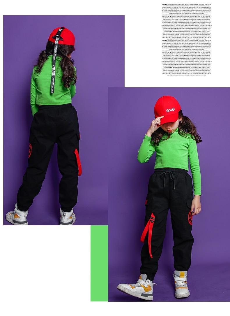 Fashion Children Jazz Dance Costume For Girls Hip Hop Street Dancing Costumes Crop Top Pants Kids Performance Dance Clothes (7)