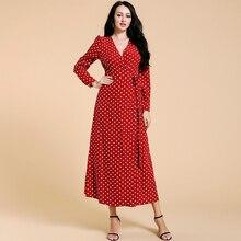 Siskakia Women's Polka Dot Long Dress Red Wrap V Neck Long S