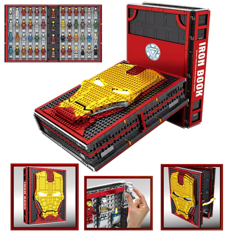New Super Heroes Iron Man Book Underground Laboratory Base Mark Armor Set Building Book Block Legoinglys Marvel Avengers Gift