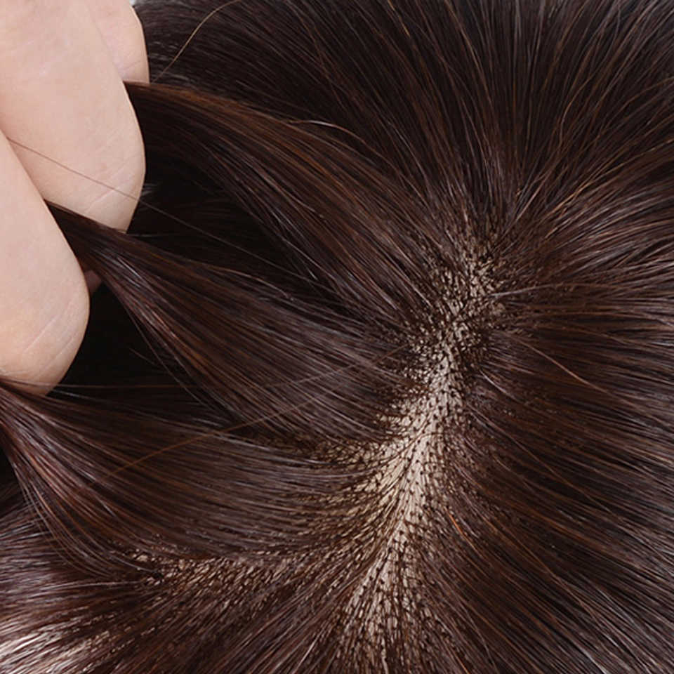 Brezilya gerçek insan saçı kadın peruk patlama düz saç malzeme saç el yapımı Topper saç saç tokası Ins olmayan remy saç