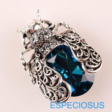 Fashion Perhiasan Cicada Pin Rhinestone Biru Warna Bros Crystal Anti Warna Perak Jerapah Payudara Pin Kaca Lady Garment(China)