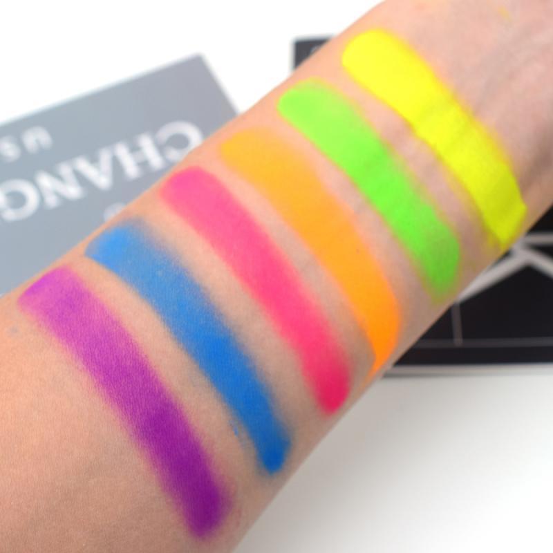6 Colors/lot Mixed Neon Eyeshadow Powder Matte Mineral Sequin Eye Shadow Palette Easy To Apply Waterproof Eyeshadow Mskeup TSLM1 6