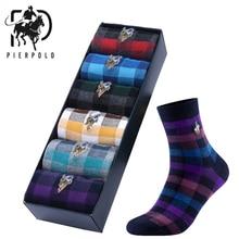 PEIR POLO, высокое качество, деловые мужские носки, хлопок, корейская мода, Харадзюку, мужские нарядные носки, стильные носки с геометрическим рисунком