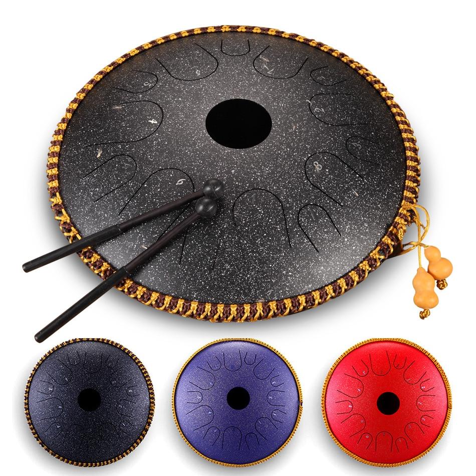 Steel Tongue Drum 14 Inch 14 Tone  Drum Handheld Tank Drum Percussion Instrument Yoga Meditation Beginner