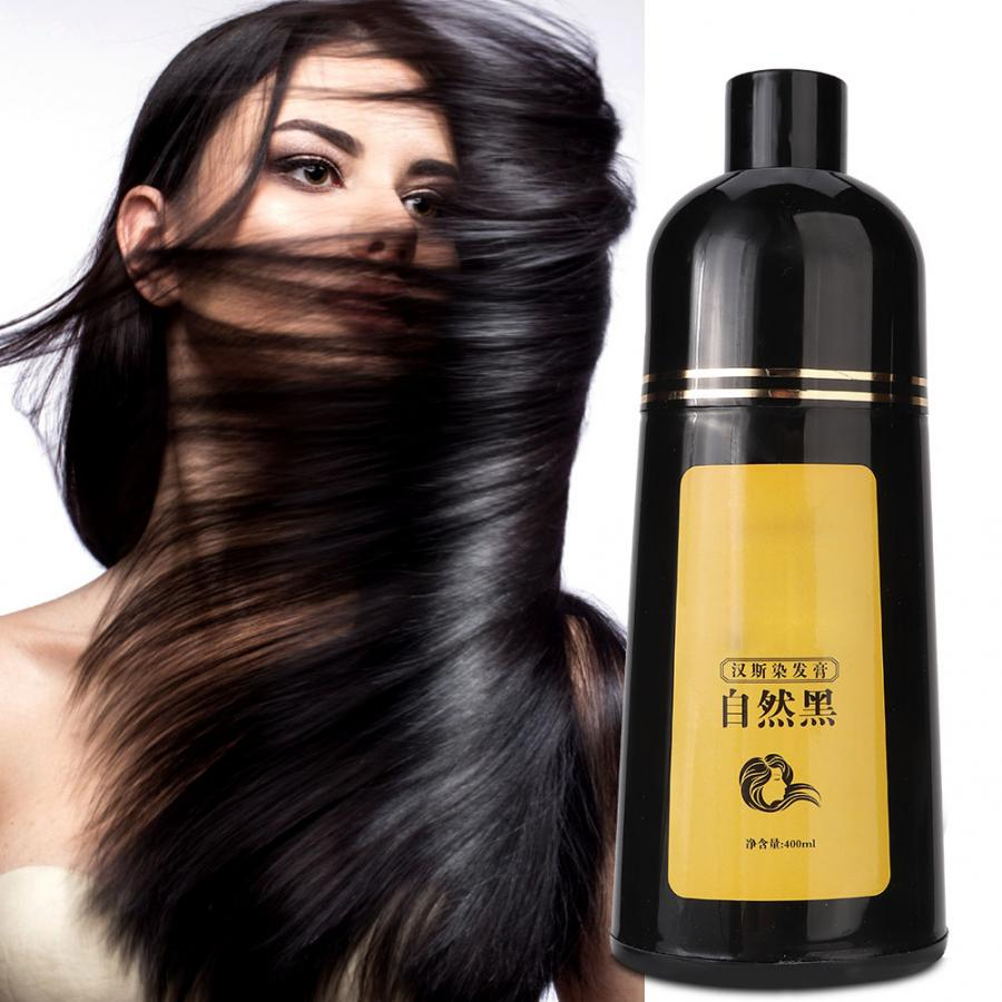 Tintura de Cabelo Cuidados com o Cabelo Shampoo Natural Planta Cabelo Preto Coloração 400ml
