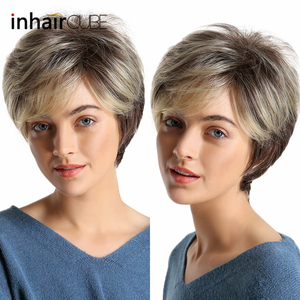 Image 1 - Inhaircube perruque naturelle avec frange synthétique, cheveux courts et lisses, cheveux courts et lisses, pour femmes, pour fête, sans colle