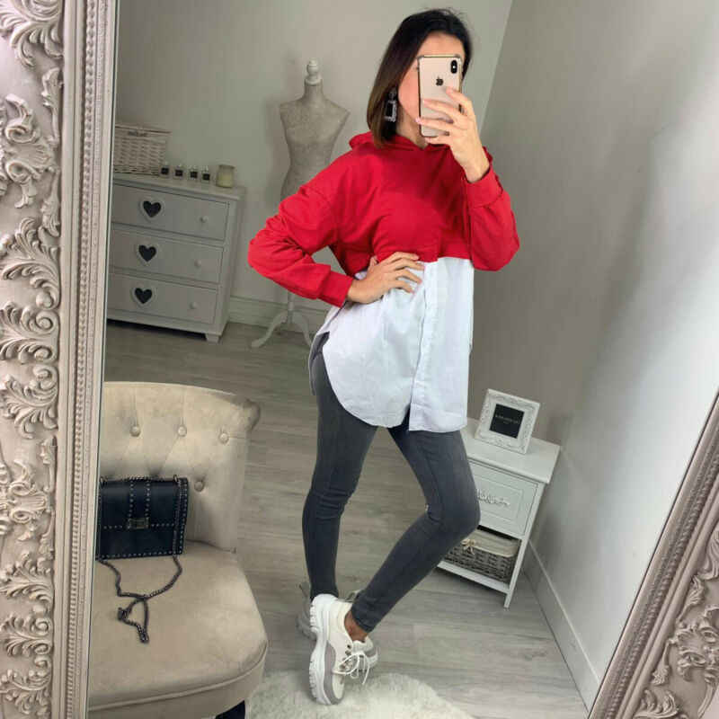 Mode Hoodie Sweatshirt Patchwork Knoppen Shirt Vrouwen Hooded Hals Lange Mouw Lange Top Blouse Fashion Casual Herfst Truien