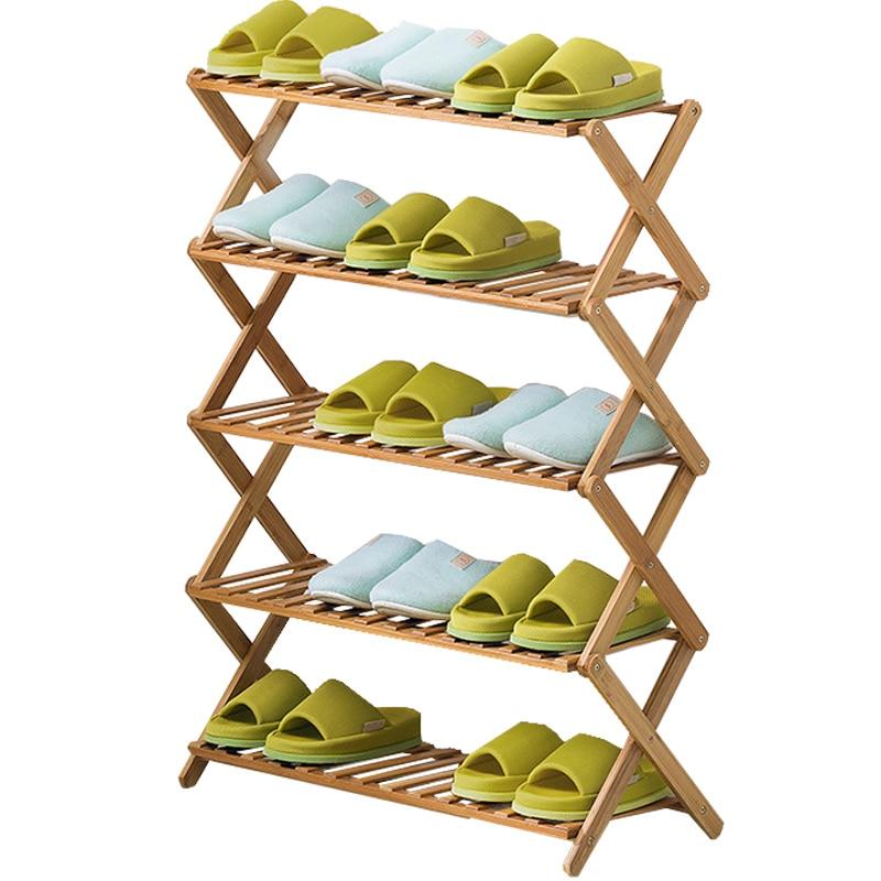 Foldable Multi-Tier Shoe Stand Shelf Large Storage Shoe Rack Multiple Use Bamboo Organizer for Household Room Saving