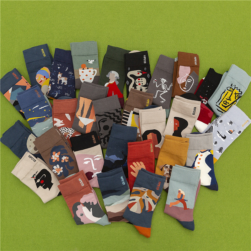 Unisex Couple Socks Retro Art Revival Harajuku Skull Mask Leaf Drama Spaceship Street Fashion Long Socks Men Women Socks