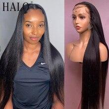Halo 13x4 frente do laço perucas de cabelo humano pré arrancadas brasileiro remy em linha reta 28 30 Polegada fechamento do laço peruca frontal para a mulher preta