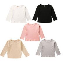 T-Shirt Tops Long-Sleeve Baby-Boy-Girl Stripe Simple 5colors