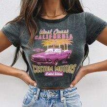 Модная новинка женская футболка с принтом машины круглый вырез