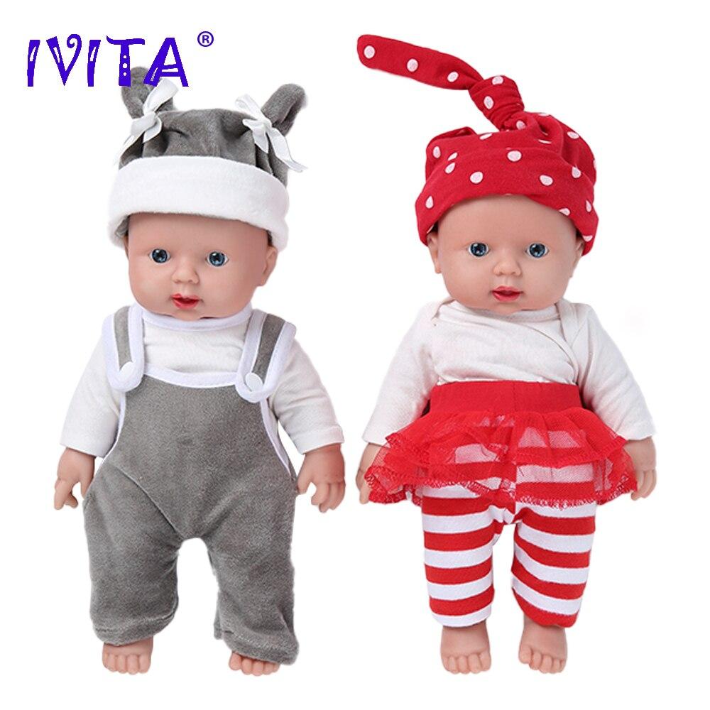 IVITA WG1505 30 см 1100 г высококачественные силиконовые куклы для новорожденных, реалистичные куклы для близнецов, Игрушки для раннего образования...