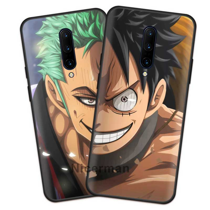 Japanese <font><b>Anime</b></font> One Piece Luffy Zoro <font><b>Case</b></font> for <font><b>Oneplus</b></font> 7T 7 Pro 5G <font><b>6</b></font> 6T Black Silicone Soft Phone Cover Coque Oneplus7T Shell image