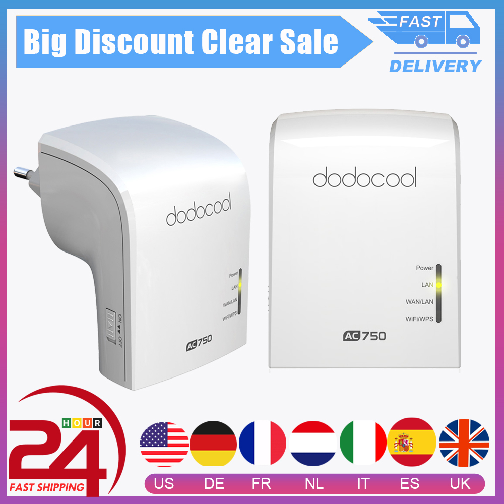Wi-Fi репитер dodocool AC750, точка доступа AP, режим 2,4/5 ГГц, двухдиапазонный беспроводной маршрутизатор, 3 внутренних антенны, ретранслятор Wifi