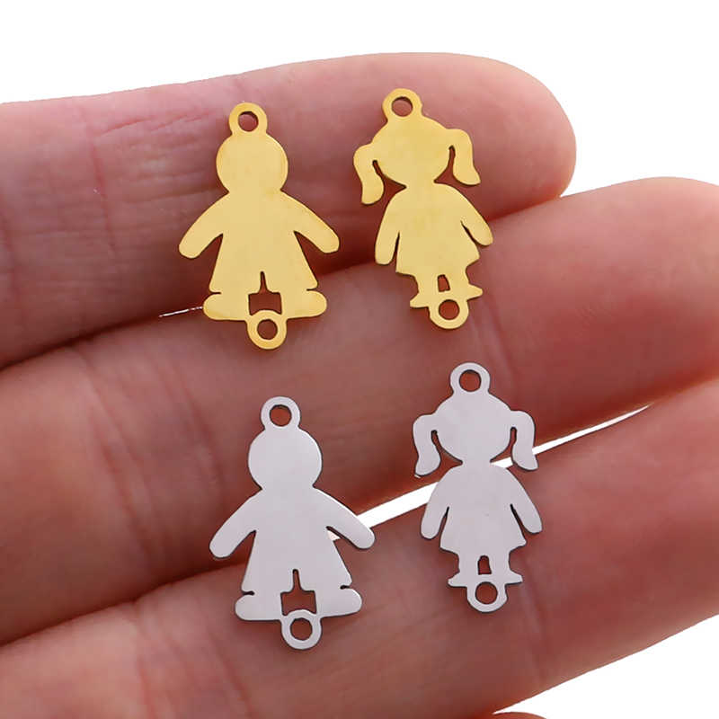 5pcs High Quality Stainless Steel Gold Boy Girls Small Charms Connectors Pendant Polished Jewelry Making Bracelet Accessories