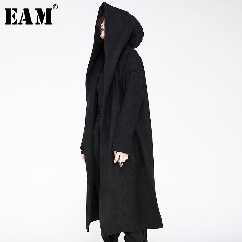 [EAM] 2020 New Winter Hooded Collar Long Sleeves Pockets Loose Big Side Split Long Big Size Jacket Women Coat Fashion Tide JY521