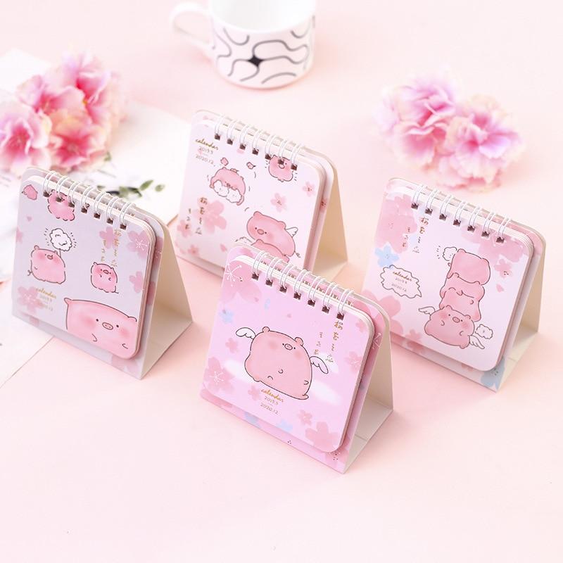 2020 Cherry Blossom Love Coil Calendar DIY Mini Pink Pig Desk Calendars Daily Schedule Planner 2019.09-2020.12