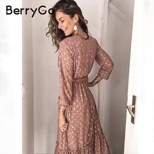 Image 2 - BerryGo v 넥 프린트 봄 여름 드레스 여성 우아한 긴 소매 주름 사무 작업 드레스 a 라인 숙녀 긴 드레스 vestidos