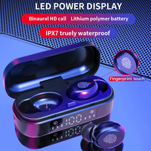V8 TWS Touch Control Wireless Headphones Bluetooth 5.0 Earphone  HD Stereo Noise Cancelling Earplugs With LED Electricity Displa