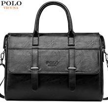 VICUNA POLO New Black Leather Famous Brand Business Men Briefcase For Documents Bag Casual 15.6inch Laptop Handbag For Male