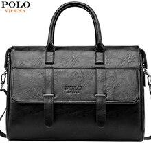 VICUNA POLO جديد أسود جلد العلامة التجارية الشهيرة رجال الأعمال حقيبة للمستندات حقيبة عادية 15.6 بوصة حقيبة يد للحاسوب المحمول للذكور
