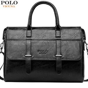 Image 1 - VICUNA POLO جديد أسود جلد العلامة التجارية الشهيرة رجال الأعمال حقيبة للمستندات حقيبة عادية 15.6 بوصة حقيبة يد للحاسوب المحمول للذكور