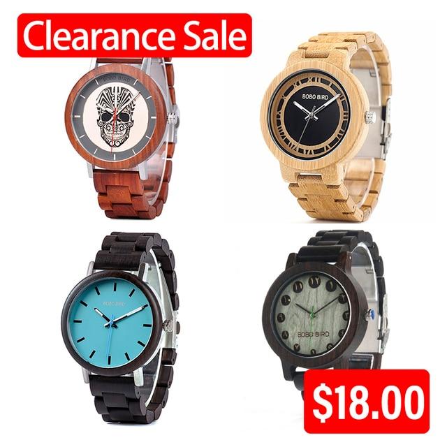 קידום מכירה BOBOBIRD שעון עץ גברים נשים קוורץ שעוני יד חג המולד מתנה הטובה ביותר מתנה בתיבה montre homme