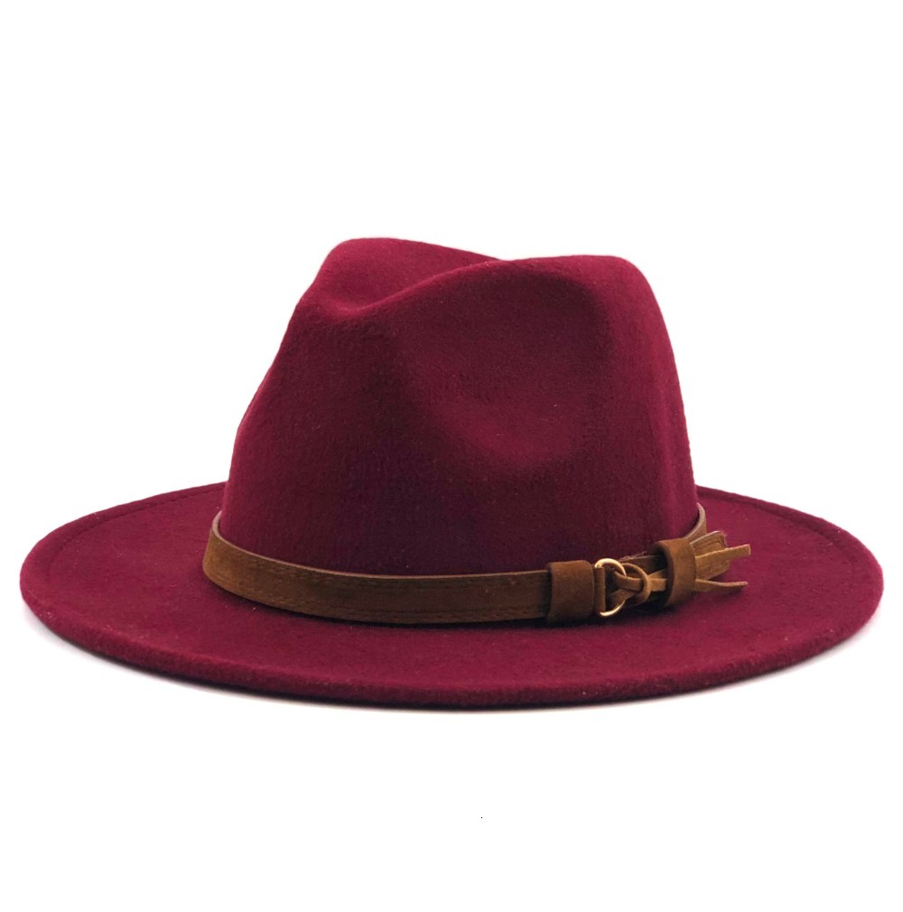H55b9bf139b694a9c97bca524770b8dd08 - Women Men Wool Fedora Hat With Leather Ribbon Gentleman Elegant Lady Winter Autumn Wide Brim Jazz Church Panama Sombrero Cap