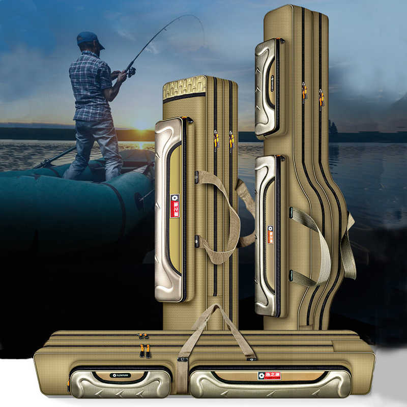 Sacs de pêche 2/3/4 couches 100/120 CM multifonctionnel canne à pêche sacs Case matériel de pêche sac toile pêche moulinet Gear XA139G
