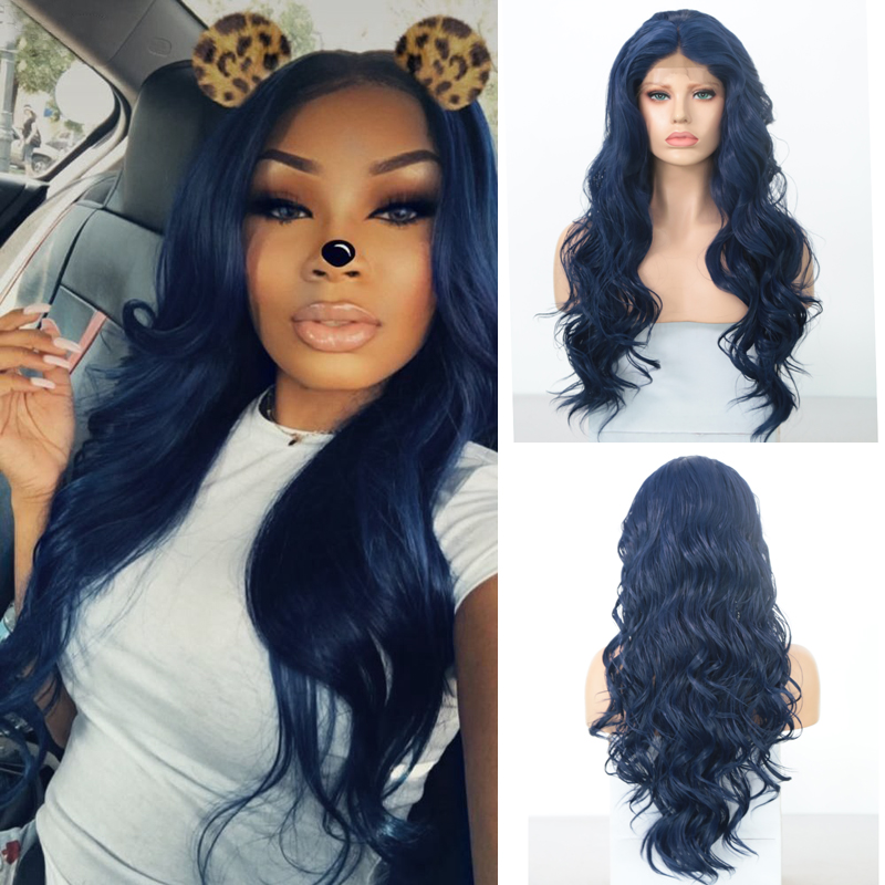 Charisma Blue Wig 30 Inches Long Wavy Hair Heat Resistant Synthetic Lace Front Wig Middle Part Synthetic Wigs For Black Women