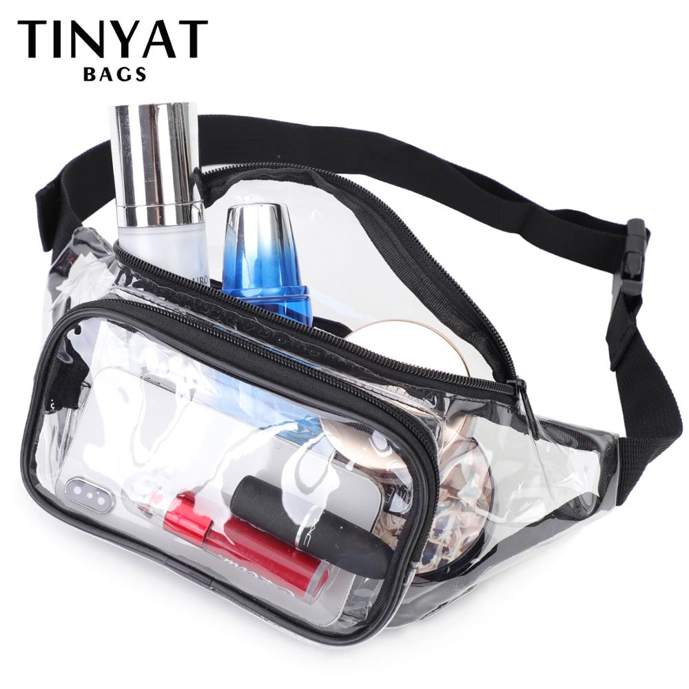 TINYAT Summer Waist Bag PVC Clear Waist Bag Waterproof Jelly Belt Bag For Girl Walk Dog Bag Transparent Casual Fanny Pack
