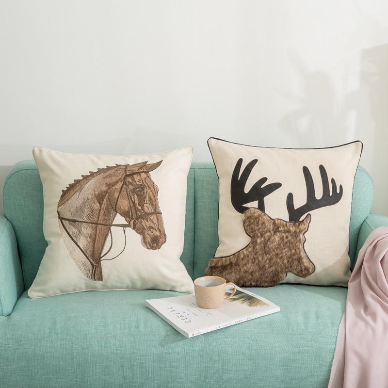 Elk Deer Cotton Linen Cushion Cover Sofa Waist Home Decor Pillow Case Xmas Gift
