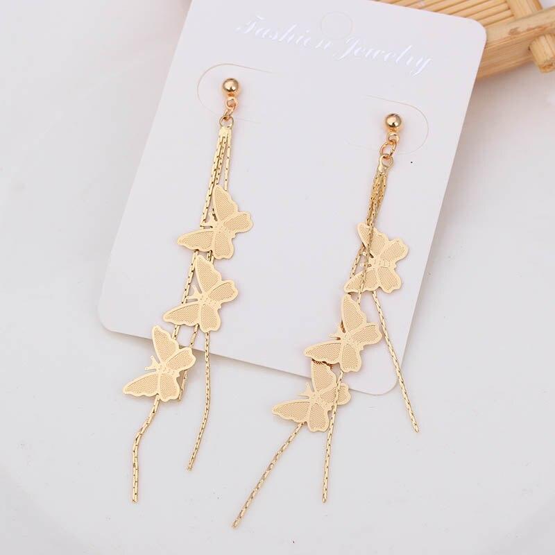 Elegant Embroidery Butterfly Crystal Long Tassel Drop Dangle Earrings Jewelry