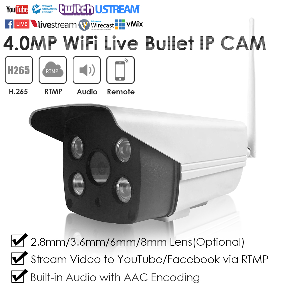 4.0MP Wireless WiFi IR Starlight Plastic Waterproof Live Streaming IP Camera Broadcasting To YouTube/Facebook By RTMP W/Audio