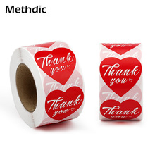 500pcs/roll 1.5x 1.5 red hearts thank you tags for decorate wedding bouquets label stickers