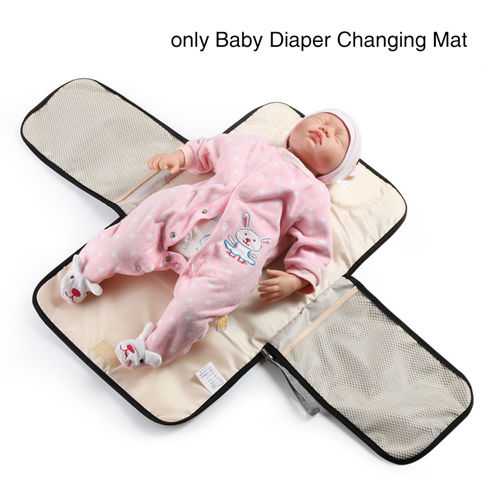 Portable With Pocket Home Foldable Reusable Clutch Diaper Changing Mat Nappy Pad Travel Waterproof Polyester Cushion Washable