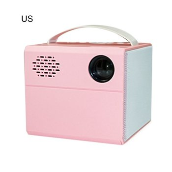 Portable LED Projector True Stereo Super Sense Sound High Quality HD 1080P Home Projector Color Pink