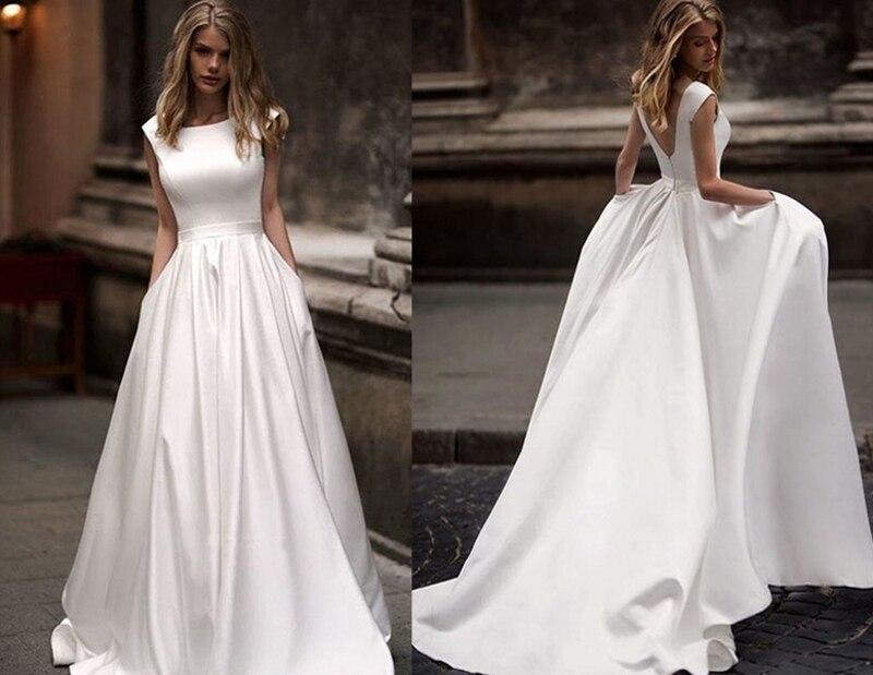 Hot Sale Wedding Dresses With Pocket 2019 Vestido De Novia Satin White Bridal Dress Sweep Train Wedding Gown