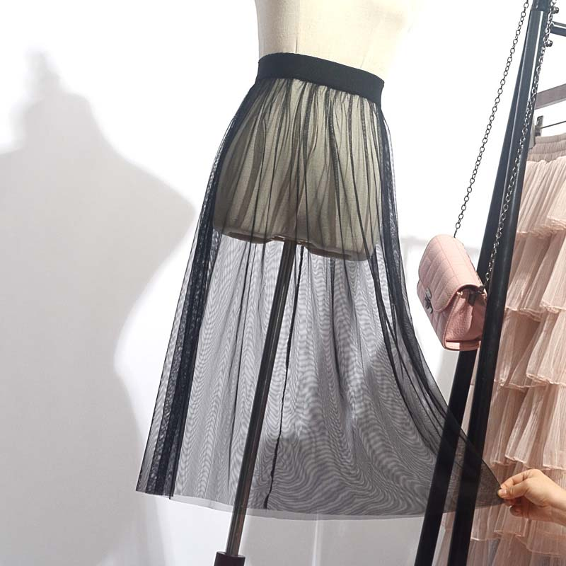 Spring Summer Tulle Skirts Womens Casual Hot 2019 Fashion Transparent Elastic High Waist Mesh Lace Tutu Saias Jupe Women's Skirt