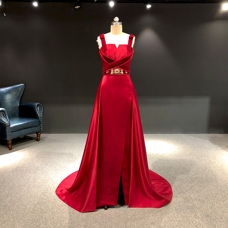 Rhin vraies photos vin rouge Satin avec perles d'or Sexy Elie saab robes de bal arabe robes de soirée longues