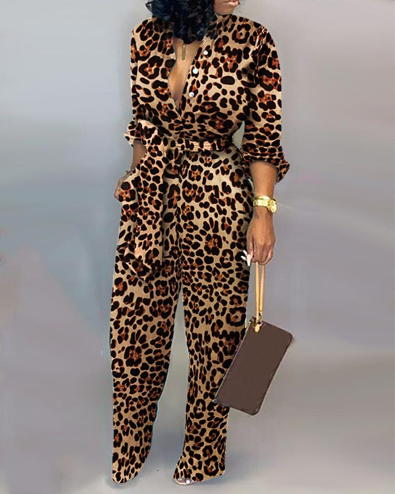 Leopard Print Long Sleeve Women Jumpsuit Sashes Tied Waist Wide Leg Rompers Womens Jumpsuit Casual Loose V Neck Long Overalls