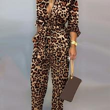 Leopard Print Long Sleeve Women Jumpsuit Sashes Tied Waist Wide Leg Rompers Wome