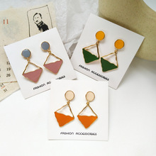 Korean Earrings Fashion Creative Personality Geometric Colorful Eanmel Drop Earring  Women Jewelry